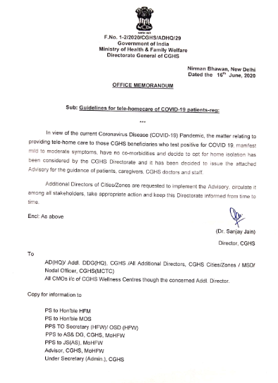 CGHS Advisory on Tele-Homecare of COVID-19 patients
