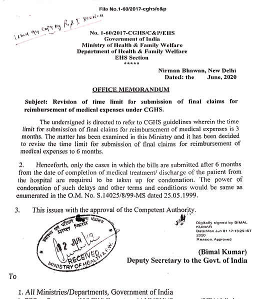 CGHS: Revision of time limit for submission of final claims for reimbursement