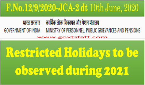 Restricted Holidays during the year 2021 for Central Govt. Offices located at Delhi/New Delhi