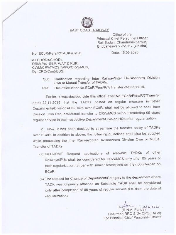 Transfer Railway Employees : Clarification regarding Inter Railway/Inter Division/ Intra Division Own or Mutual Transfer of TADKs.