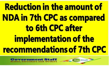 7th Pay Commission: Reduction in the amount of NDA in 7th CPC as compared to 6th CPC