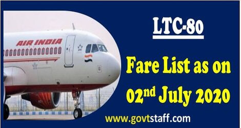 Air India LTC-80 Fare List effective from 2nd July 2020