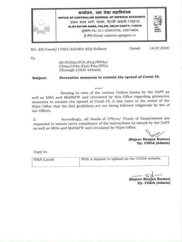 CGA Order: Preventive measures to contain the spread of Covid-19