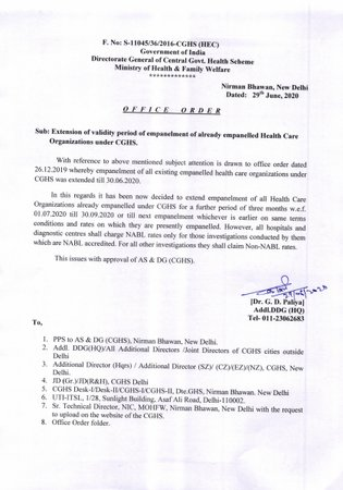 CGHS: Extension of validity period of empanelment of already empanelled HCO till 30.09.2020