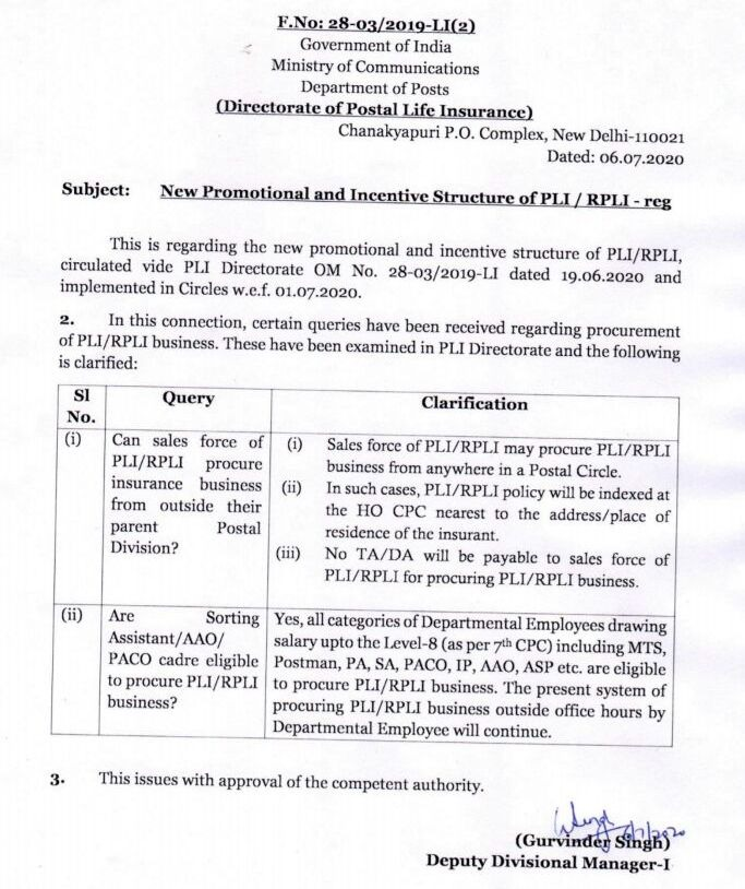 Clarification on New Promotional and Incentive Structure of PLI / RPLI