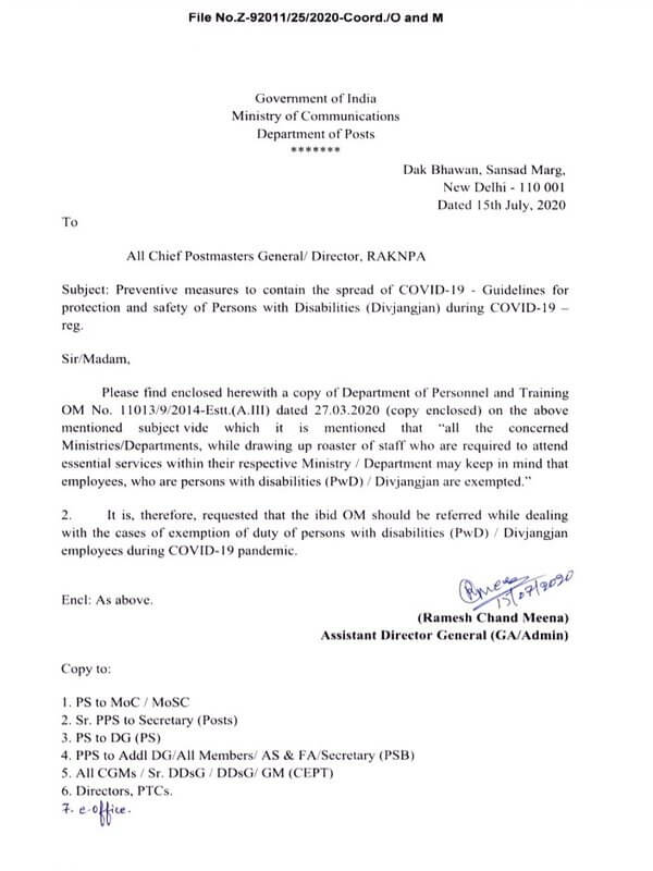 COVID-19 – Guidelines for protection and safety of Persons with Disabilities (Divjangjan) during pandemic – Dept. of Posts