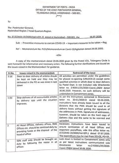 COVID-19: Preventive meassures to be taken – Dept. of Post, Telangana Circle