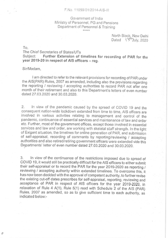 DoPT: Extension of timelines for recording of PAR for the year 2019-20 in respect of AIS officers