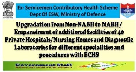 ECHS: Empanelment of 40 Private Hospitals/Nursing Homes and Diagnostic Laboratories – Upgradation from Non-NABH to NABH