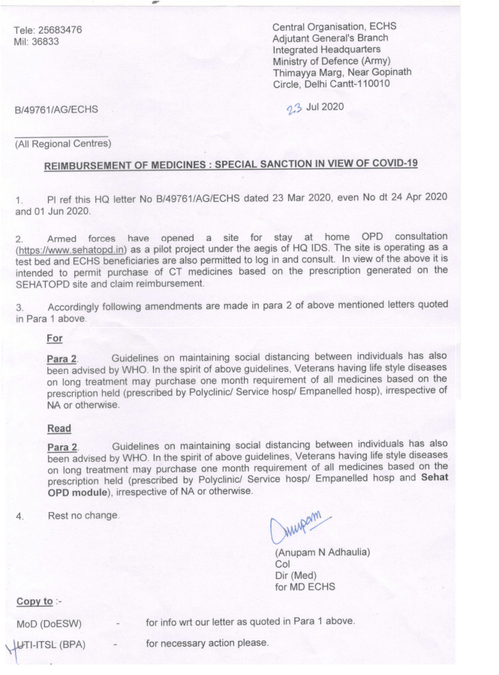 ECHS Special Sanction for Reimbursement of Medicines in view of COVID-19