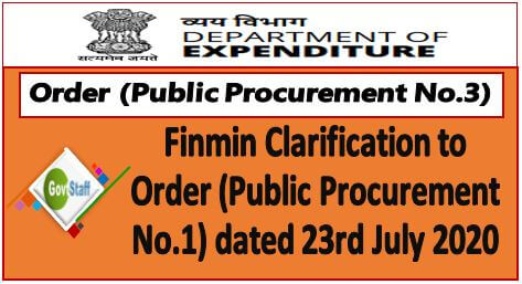 Finmin Clarification to Order (Public Procurement No.1) dated 23rd July 2020