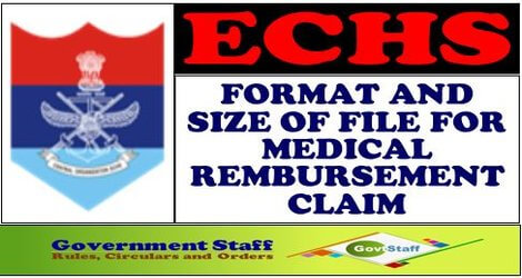 Format and Size of Medical Reimbursement Claim file in pdf format – ECHS Order