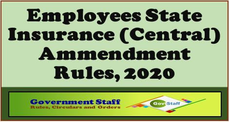 G.S.R.466(E): Employees' State Insurance (Central) Amendment Rules, 2020