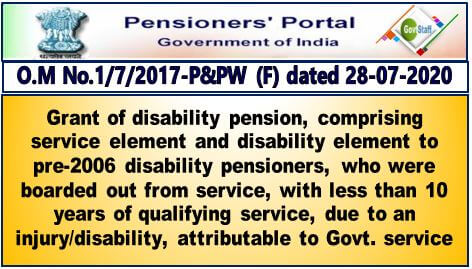 Grant of disability pension to whom who were boarded out from service, with less than 10 years of qualifying service, due to an injury/disability