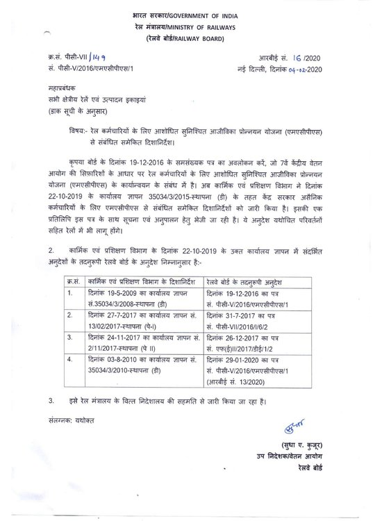 MACP: Consolidated guidelines for Railway Employees (RBE No. 16/2020)