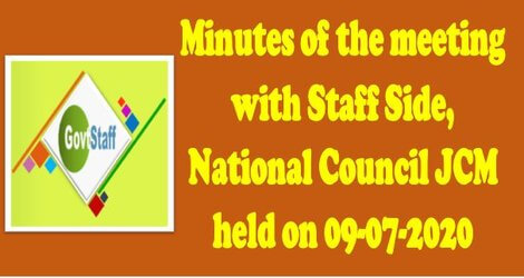 Minutes of the meeting with Staff Side, NC (JCM) held on 09-07-2020