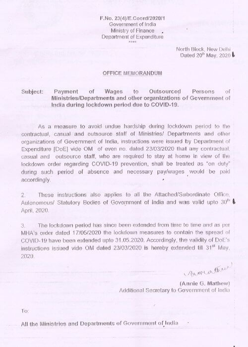 Payment of Wages to Outsourced Persons during lockdown period due to COVID-19
