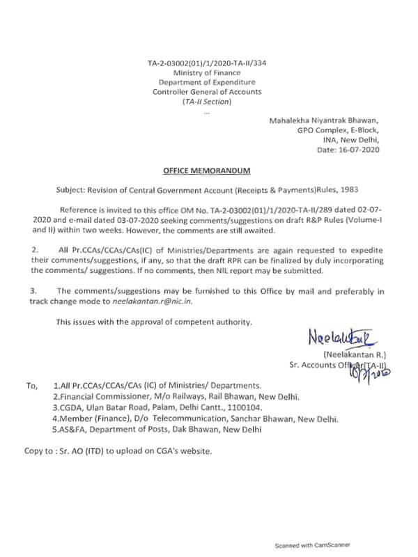 Revision of Central Government Account (Receipts & Payments) Rules, 1983