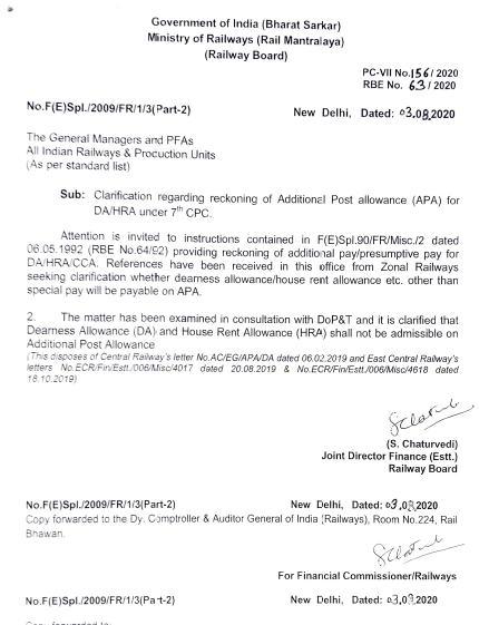 7th CPC Additional Post Allowance (APA): Clarification regarding reckoning of APA for DA/HRA