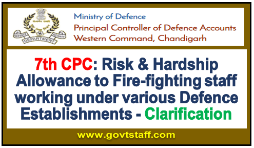7th CPC: Risk & Hardship Allowance to Fire-fighting staff working under various Defence Establishments – Clarification.