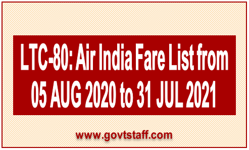 Air India LTC 80 Fares List as on 05.08.2020 and for the period from 05.08.2020 to 31.07.2021