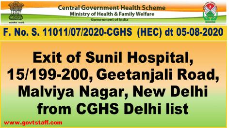 CGHS Empanelment: Exit of Sunil Hospital, 15/199-200, Geetanjali Road, Malviya Nagar, New Delhi from CGHS Delhi list.