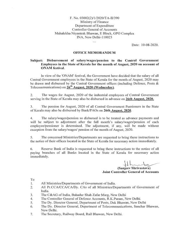 Disbursement of salary/wages/pension on 26th August, 2020 on account of ONAM festival to the CG Employees posted in Kerala