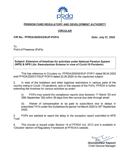 Extension of timelines for activities under National Pension System (NPS) & NPS Lite- Swavalamban Scheme in view of Covid-19 Pandemic