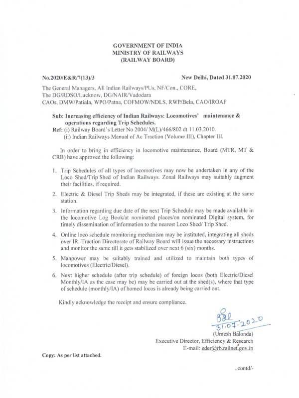 Increasing efficiency of Indian Railways' Locomotives' maintenance and operations – Railway Board Order dated 31.07.2020