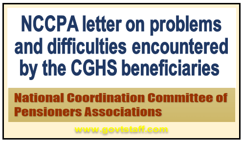 NCCPA letter on problems and difficulties encountered by the CGHS beneficiaries