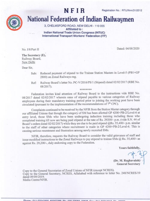 Payment of Stipend to Trainee Station Masters @ Rs. 35,400 p.m. as against Rs. 29,200 – NFIR Letter