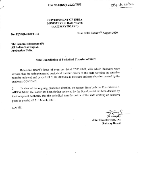 Postponement of Periodical Transfer of Staff till 31st March, 2021 – Railway Board RBE No. 65/2020