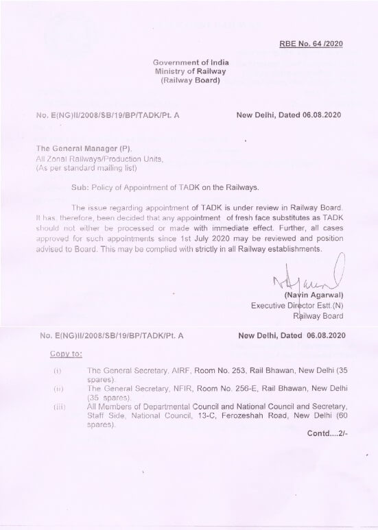 Railway Board: Policy of Appointment of TADK on the Railways – RBE No. 64/2020