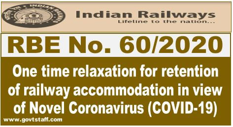 RBE No. 60/2020: One time relaxation for retention of railway accommodation in view of Novel Coronavirus (COVID-19)