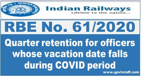 RBE No. 61/2020: Quarter retention for officers whose vacation date falls during COVID period