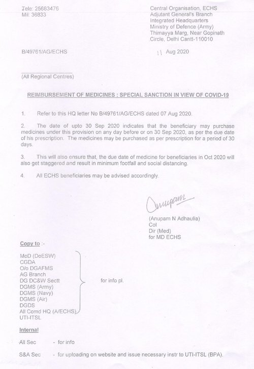 Reimbursement of Medicines – Special Sanctions – ECHS advice to beneficiaries dated 11.08.2020