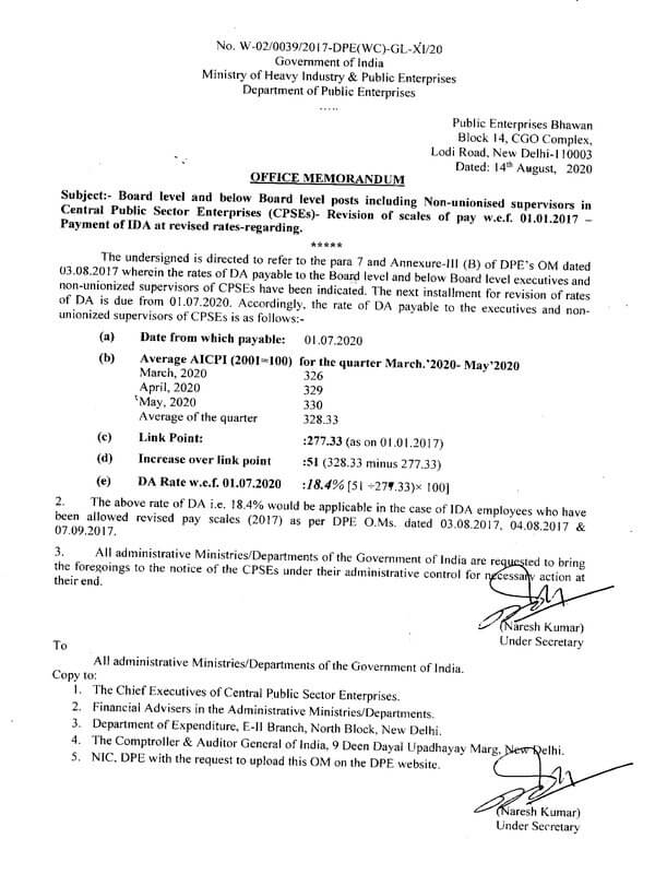 Revision of scales of Pay w.e.f. 01.01.2017 – Payment of IDA at revised rates : DPE O.M dated 14th Aug 2020