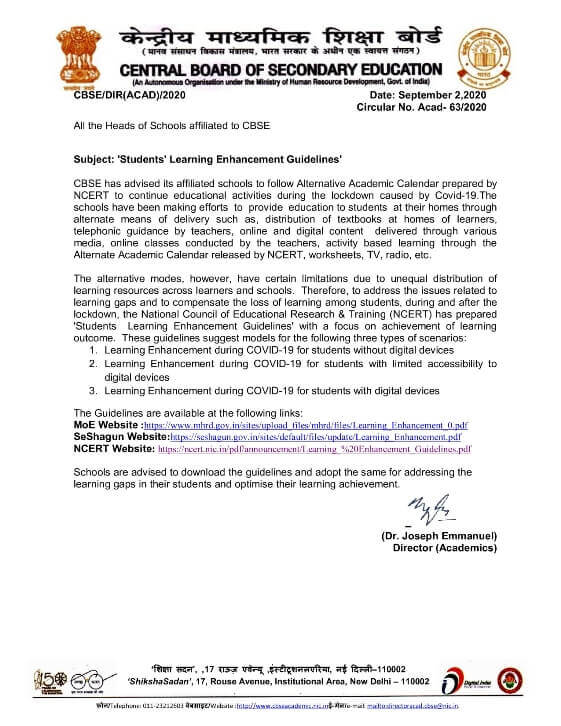 CBSE Circular No. Acad-63/2020: Students Learning Enhancement Guidelines