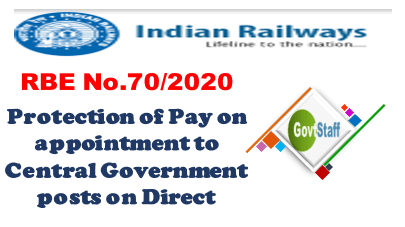 RBE No. 70/2020: Protection of Pay on appointment to Central Government posts on Direct Recruitment basis