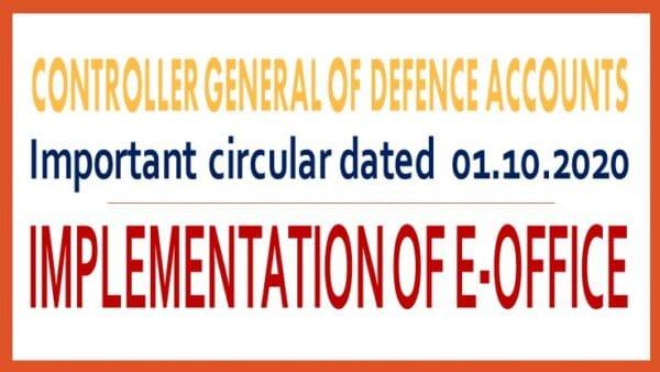 Implementation of e-Office - CGDA Circular