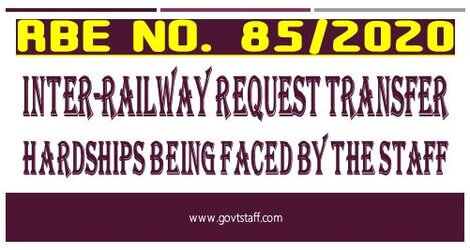 RBE No. 85/2020: Inter-Railway request transfer – Hardships being faced by the staff – reg.