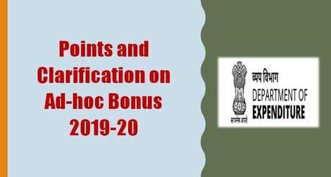 Ad-Hoc Bonus : Points of doubt and their Clarification on grant of non-productivity (ad-hoc) bonus 2019-20