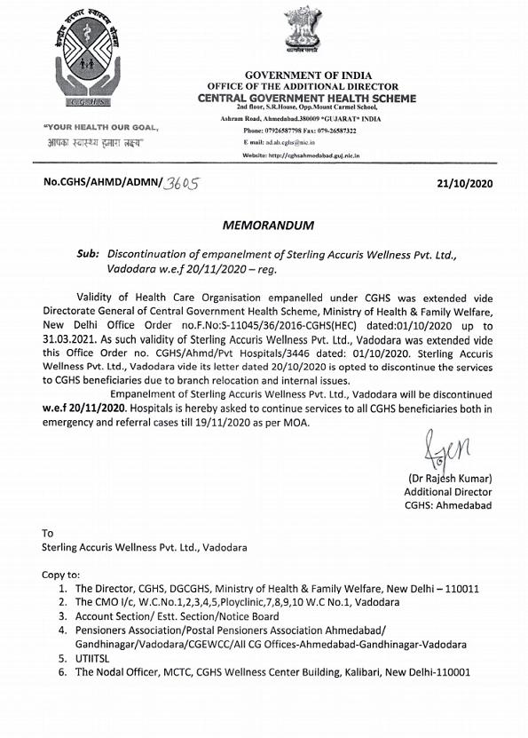 CGHS : De-empanelment of Sterling Accuris Wellness Pvt Ltd, Vadodara w.e.f 20 Nov 2020 under – Memorandum dated 21-10-2020
