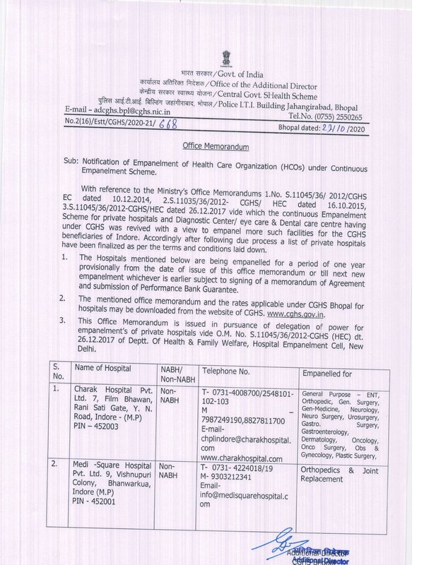 CGHS : Empanelment of Charak Hospital and Medi-Square Hospital w.e.f 27 October 2020 under continuous empanelment scheme