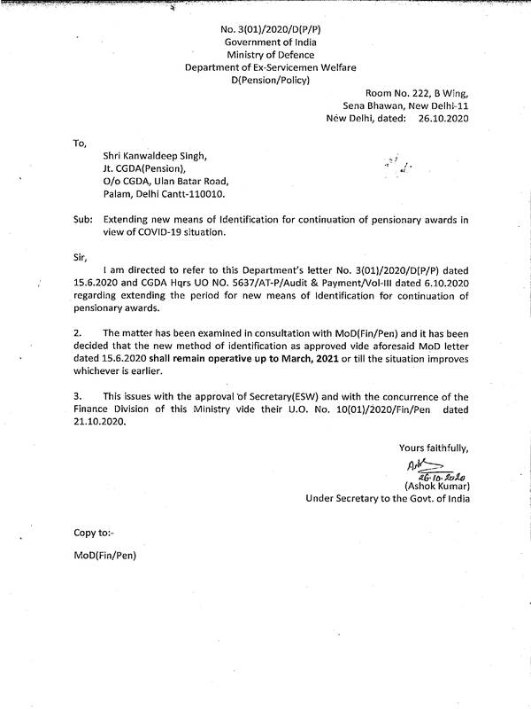 DESW : Continuation of pensionary awards in view of COVID-19 situation – Extending the new means of Identification reg.