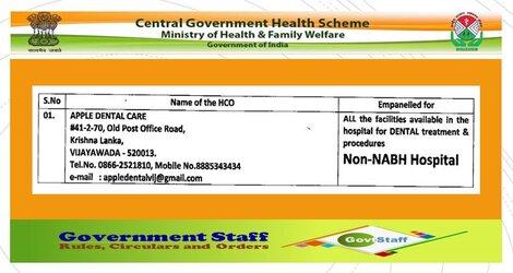 Continuous Empanelment of APPLE DENTAL CARE as Health Care Organizations (HCO) w.e.f 28 Oct 2020 – CGHS Hyderabad