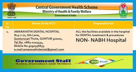 Continuous Empanelment of AMARAVATI DENTAL HOSPITAL, Guntur under CGHS Hyderabad – Outside Hyderabad