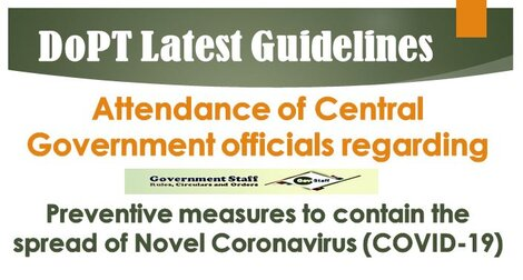 DoPT latest guidelines on Attendance of Central Government officials due to COVID-19