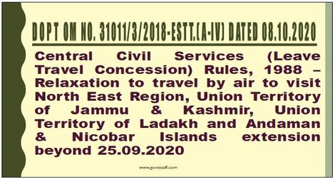 Extension in relaxation to travel by air to visit NE Region, J&K, Ladakh and A&N Islands in lieu of Home Town LTC