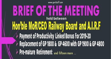 Payment of Productivity Linked Bonus for 2019-20/ Replacement of GP 1800 & GP 4600 with GP 1900 & GP 4800/ Pre-mature Retirement – Points of Discussion with CEO/MR and AIRF